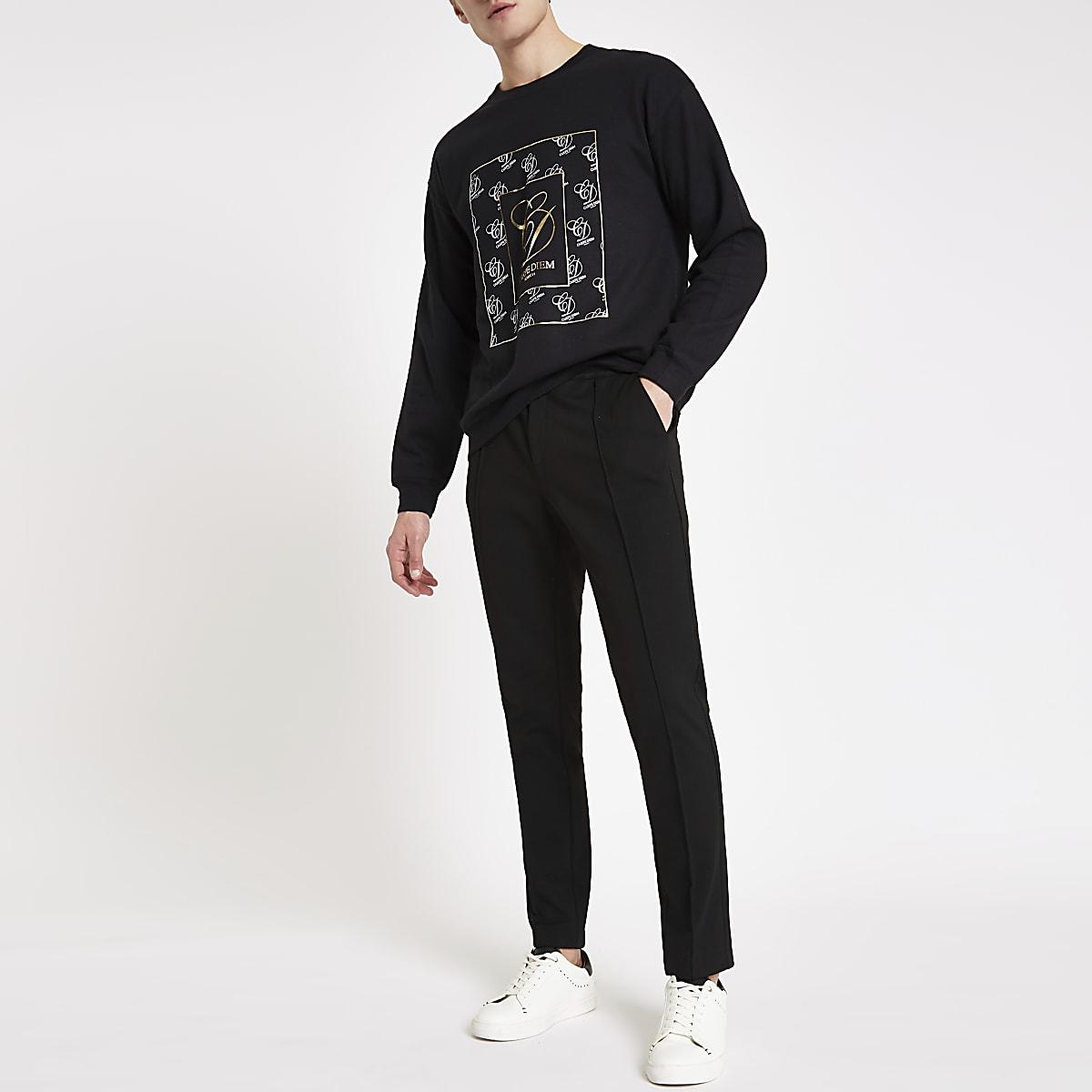 Black 'Carpe Diem' print sweatshirt