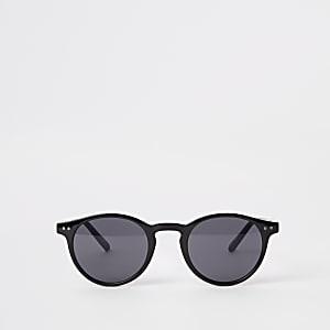 Selected Homme – Schwarze, runde Preppy-Sonnenbrille