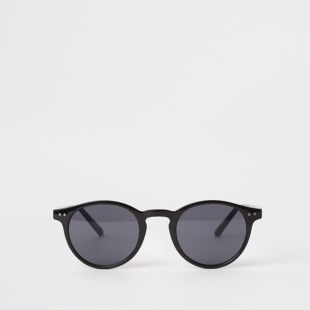 Selected Homme – Lunettes de soleil rondes noires style preppy