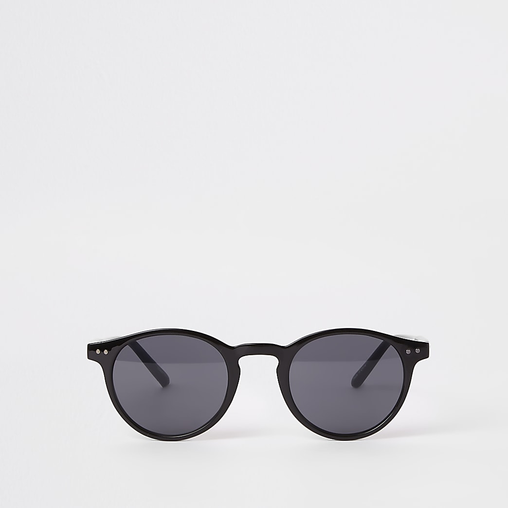 Selected Homme black preppy round sunglasses