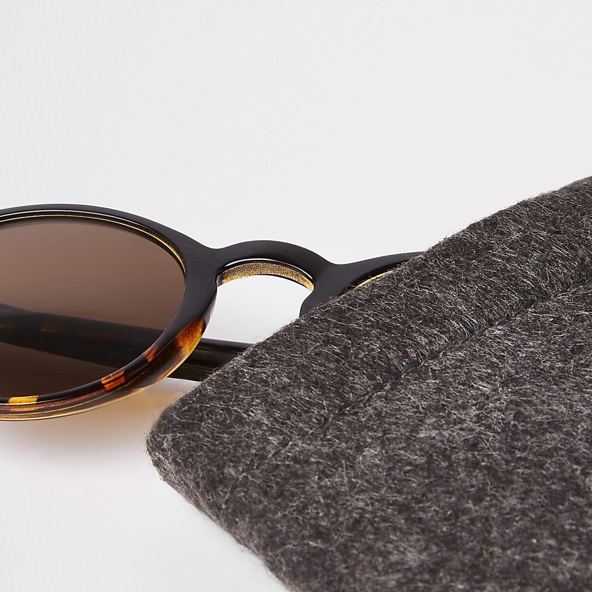 ae5f53d88d0846 Selected Homme - Bruine zonnebril met ronde glazen - Ronde ...