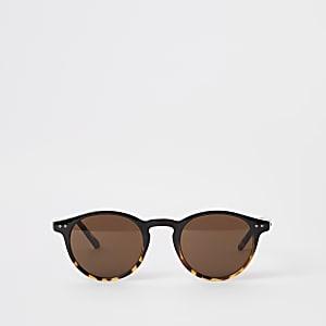 Selected Homme – Braune, runde Preppy-Sonnenbrille