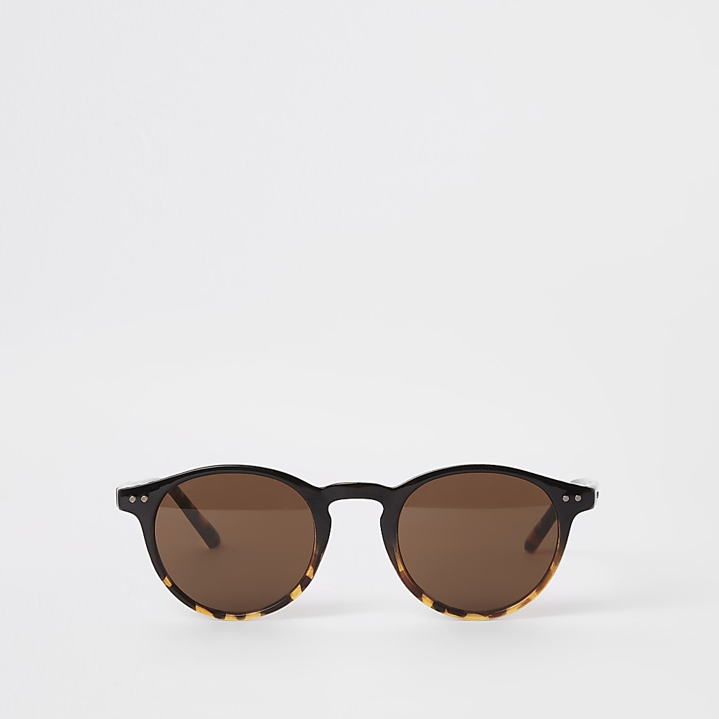 Selected Homme brown preppy round sunglasses