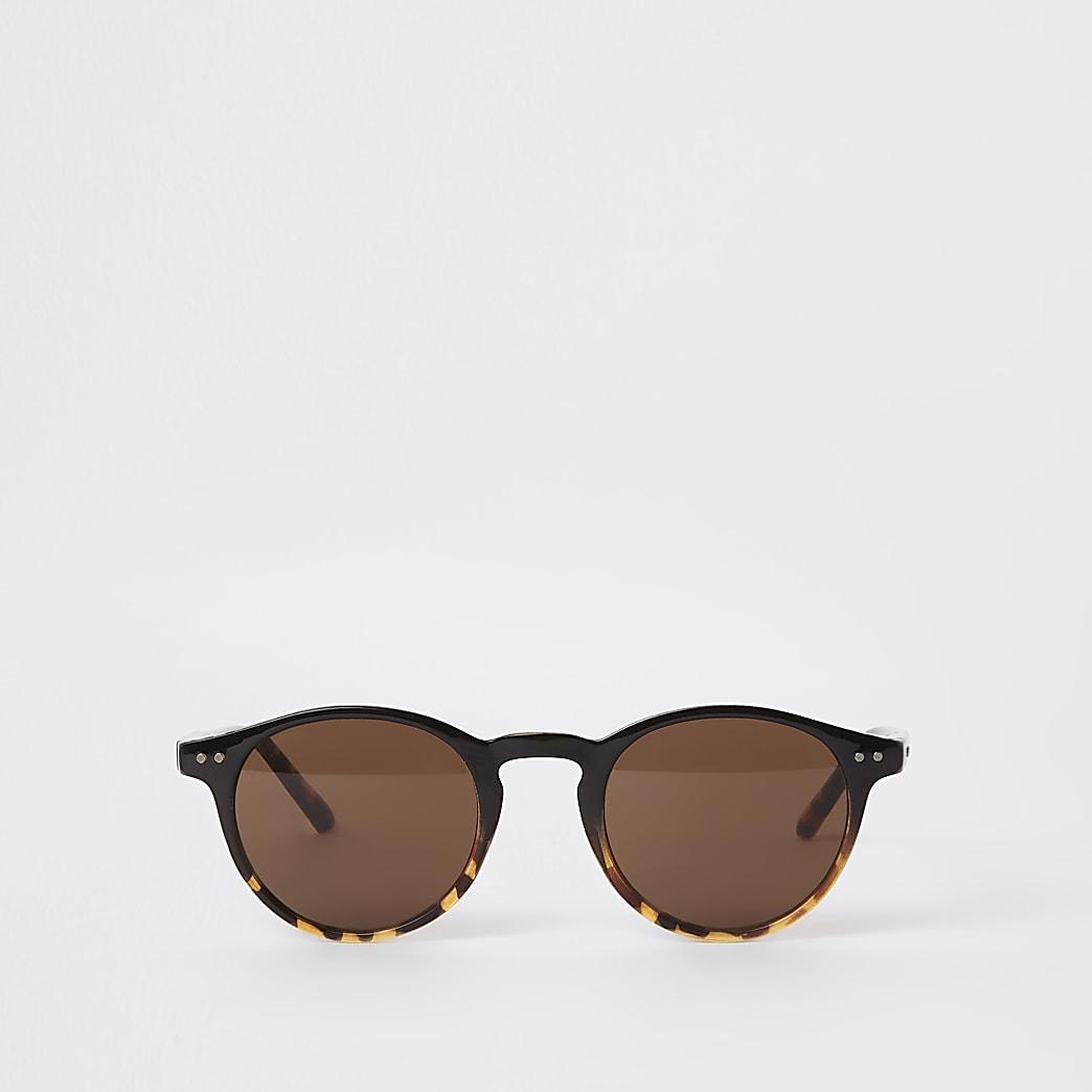 Selected Homme – Lunettes de soleil rondes marron style preppy