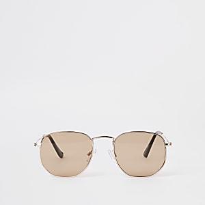 Selected Homme - Goudkleurige zeshoekige zonnebril