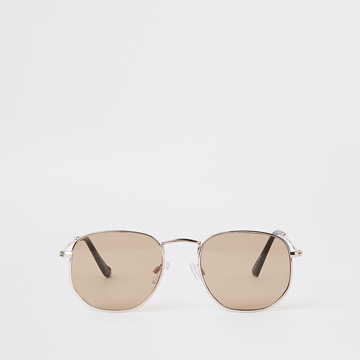 Selected Homme gold tone hex sunglasses