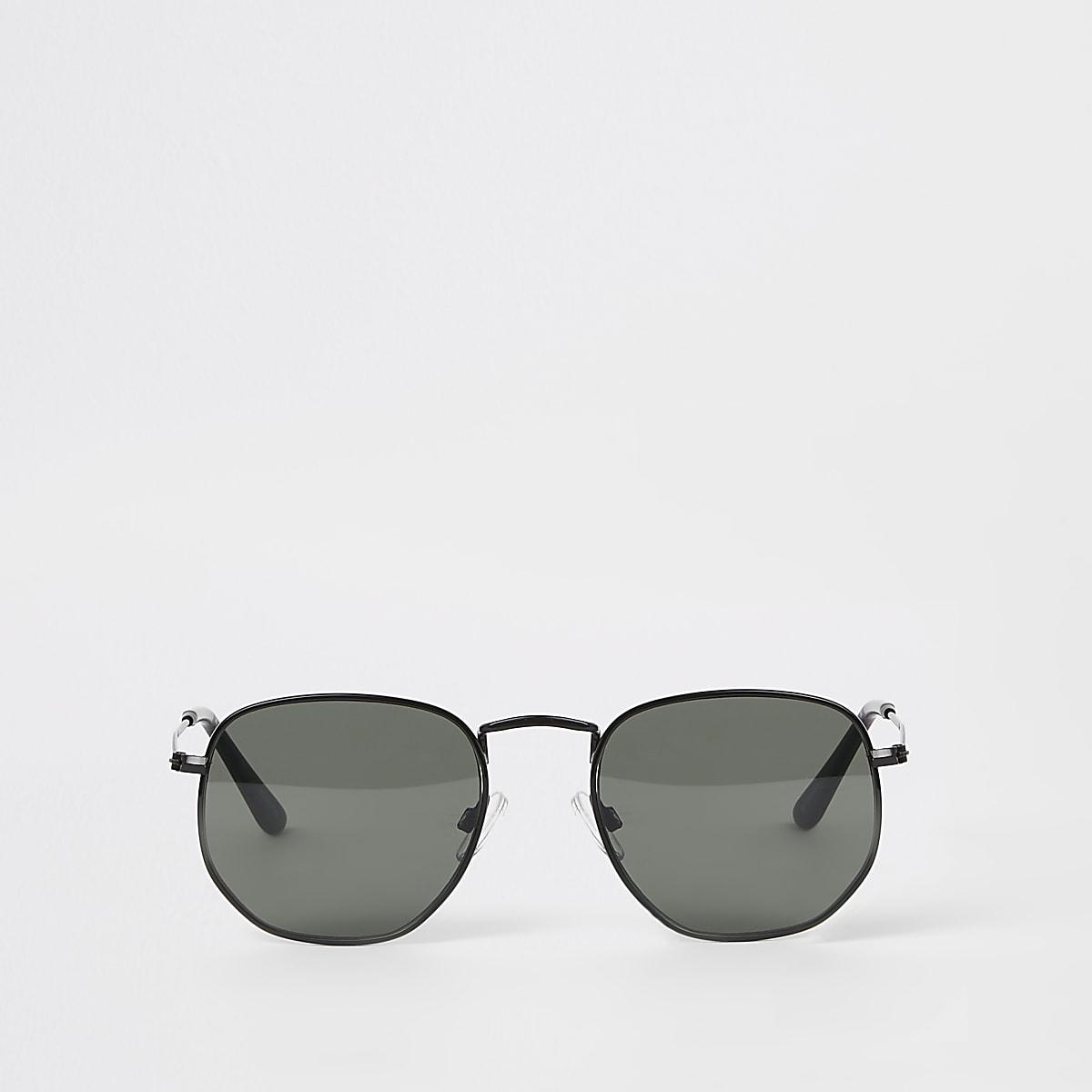 d43d938a2a971b Selected Homme - Zwarte zeshoekige zonnebril Selected Homme - Zwarte  zeshoekige zonnebril ...