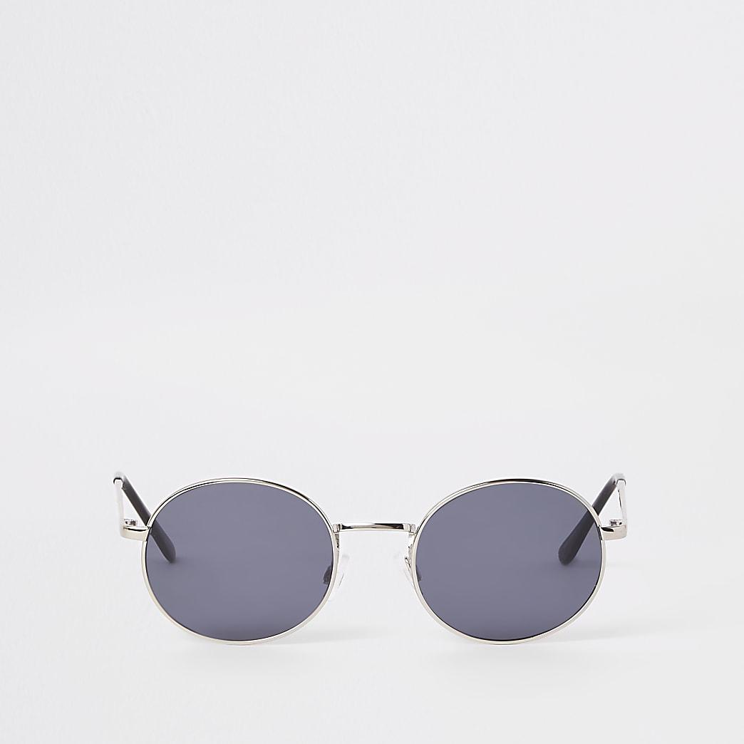Selected Homme - Zilverkleurige zonnebril met ronde glazen