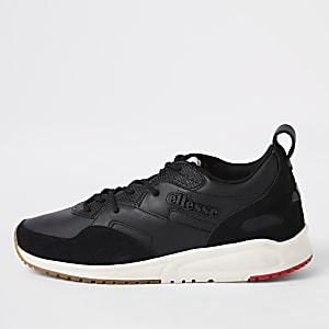 Ellesse black Potenza leather trainers