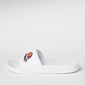 Ellesse - Witte slippers met reliëf