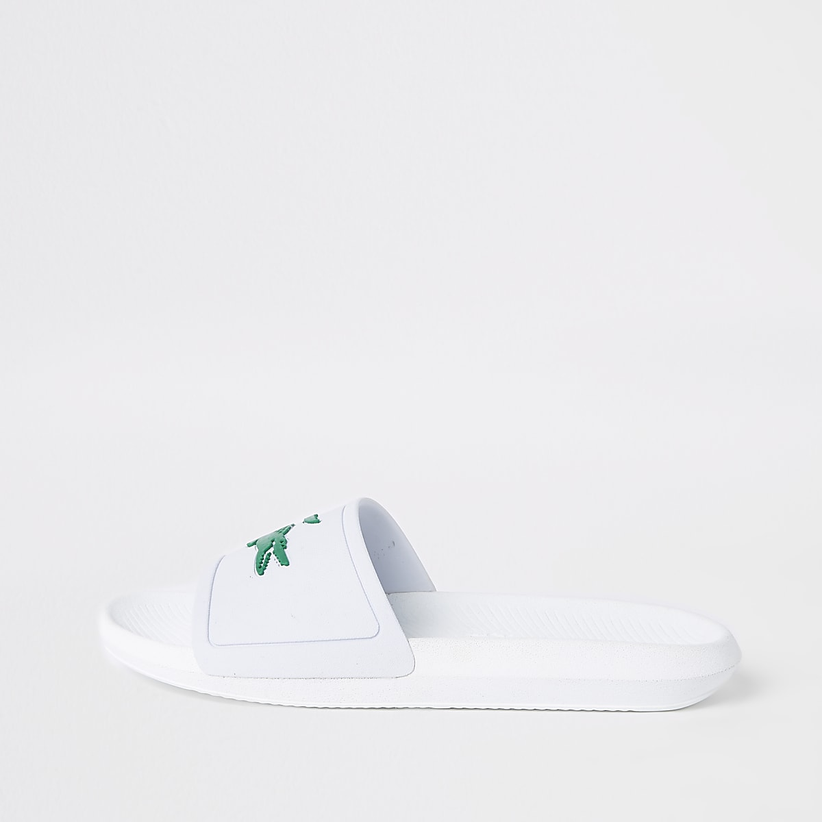 Lacoste white embossed sliders