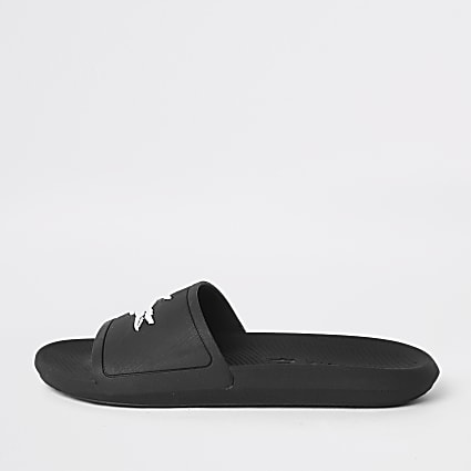 Lacoste black embossed sliders