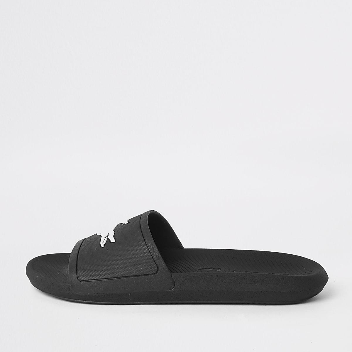 Lacoste - Zwarte slippers met reliëf