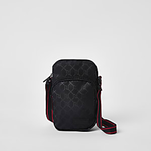 Black RI print mini cross body flight pouch