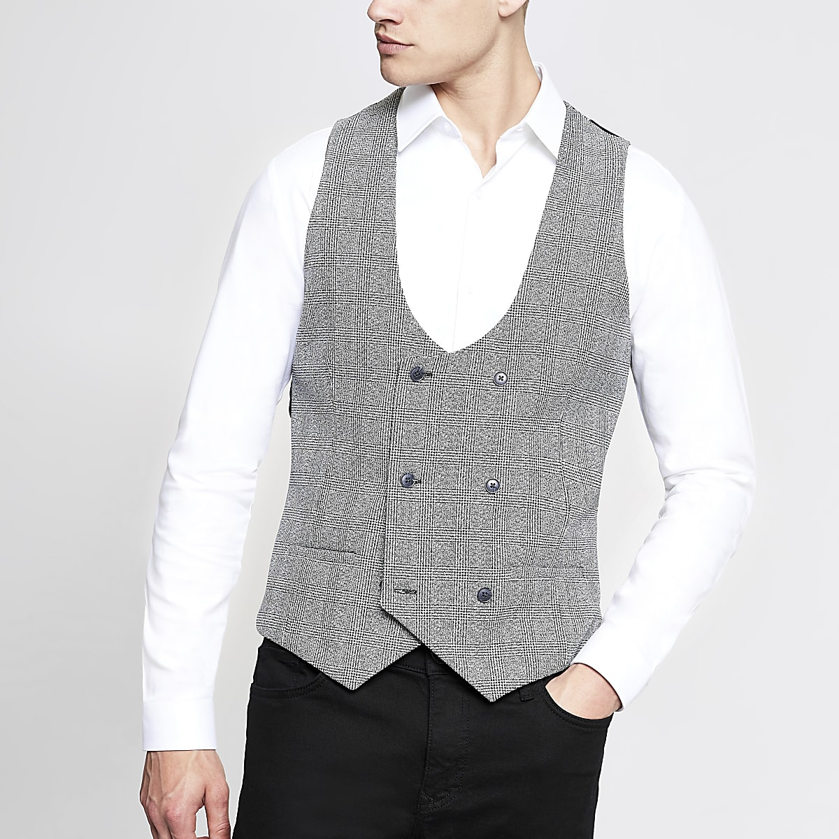 Zwart geruit double-breasted gilet