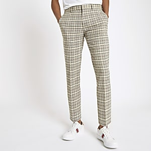 Pantalon habillé skinny stretch à carreaux grège
