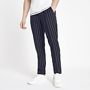 Navy stripe skinny fit jogger trousers