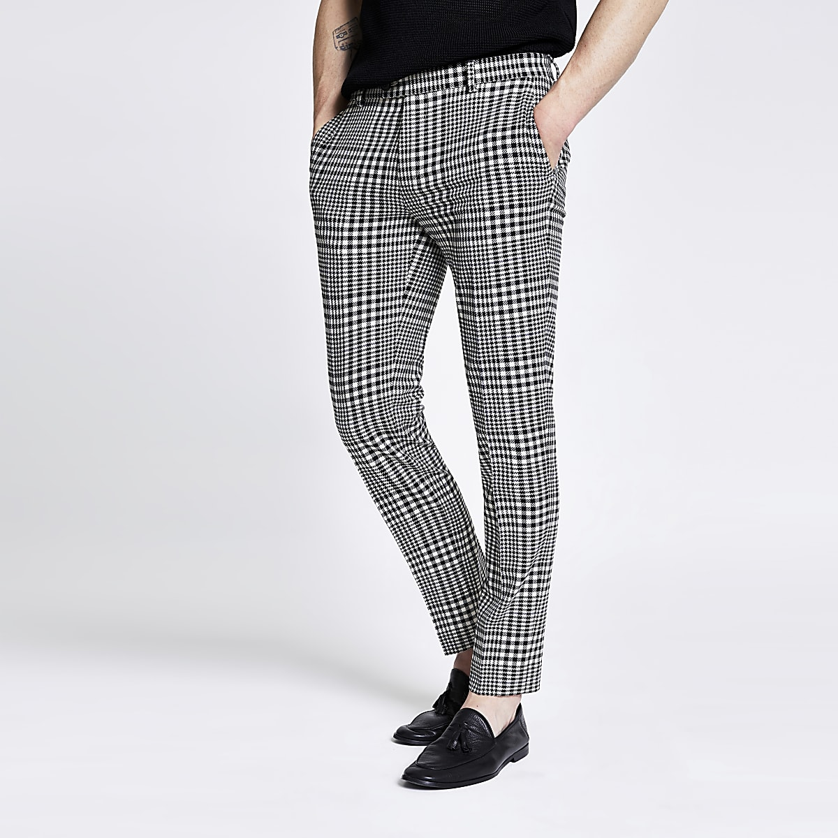 Black check cropped super skinny trousers