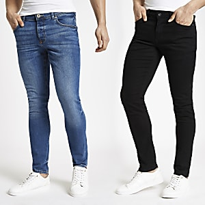 Black and blue Sid skinny fit jeans 2 pack