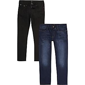 Dylan – Slim Fit Jeans in Schwarz und Blau, 2er-Pack