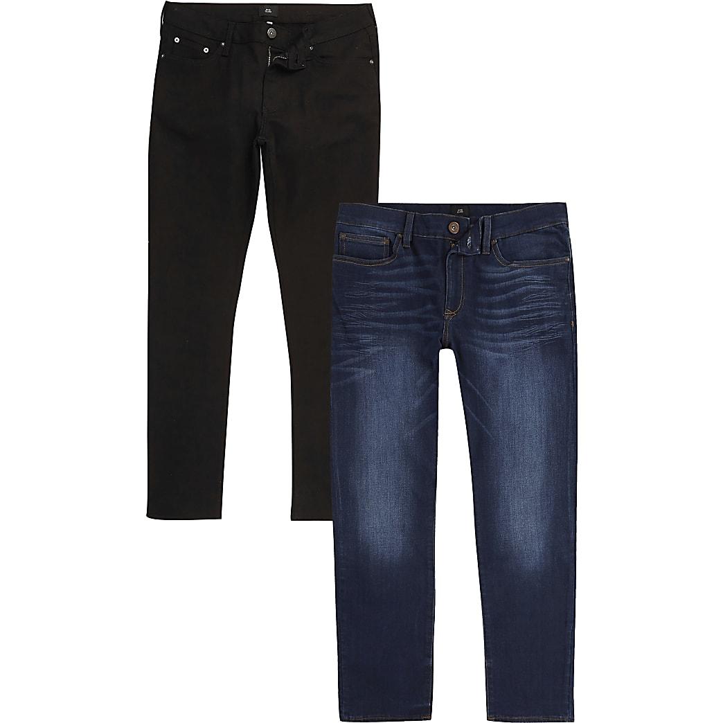 Black and blue Dylan slim fit jeans 2 pack