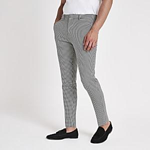 Graue, elegante Super Skinny Hose mit Hahnentritt-Muster