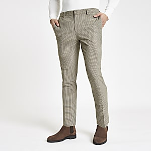 Ecru pupstooth super skinny smart pants