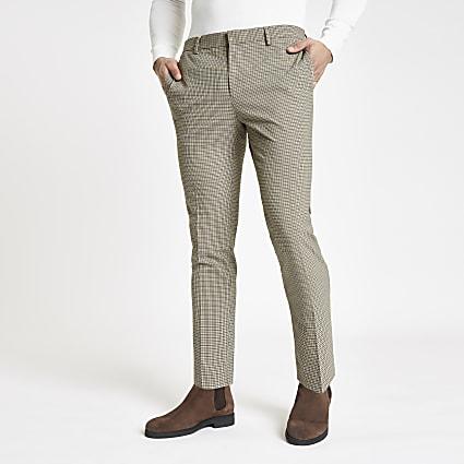 Ecru pupstooth super skinny smart trousers