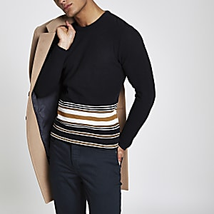 Navy slim fit stripe hem sweater
