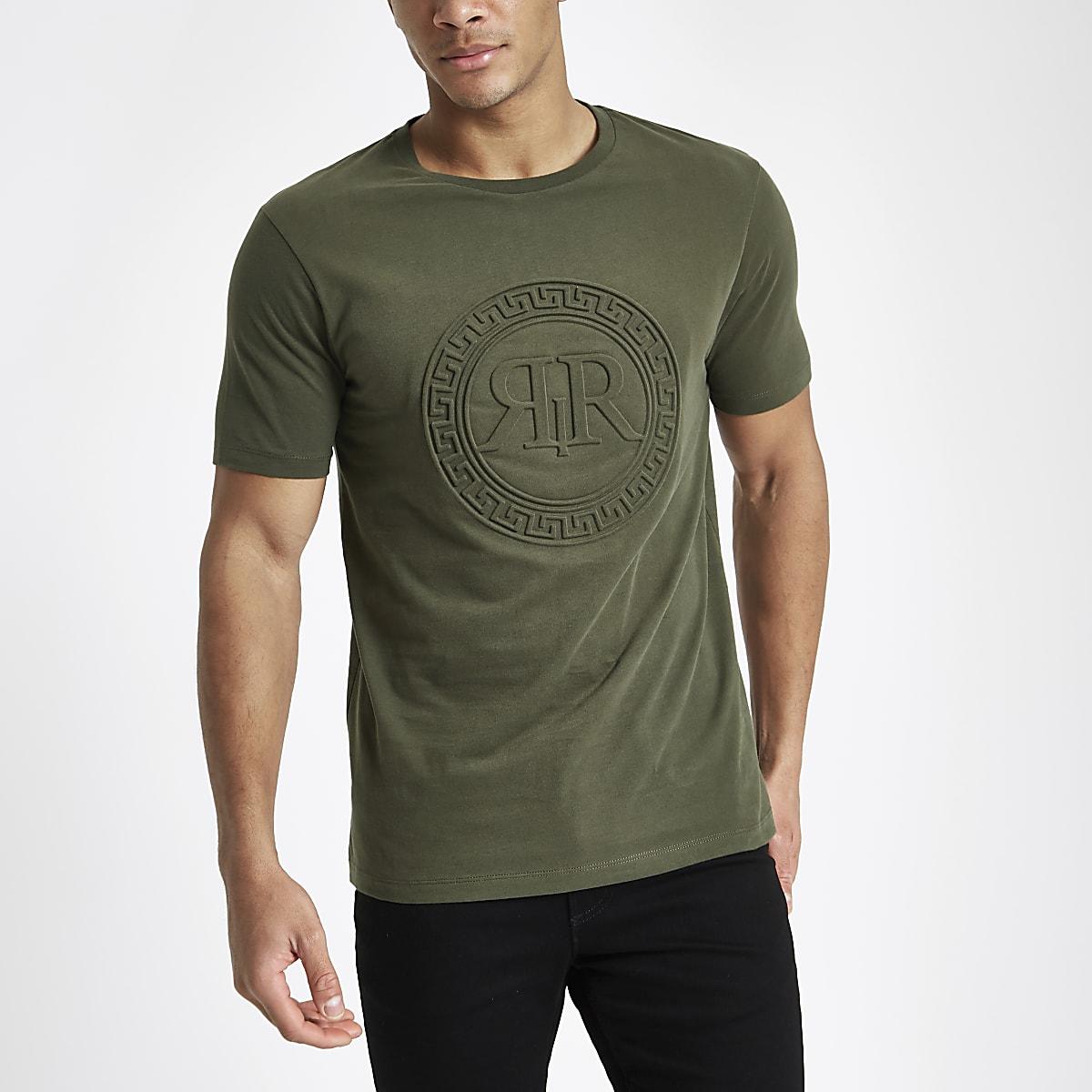 Kakigroen slim-fit T-shirt met RI-logo in reliëf