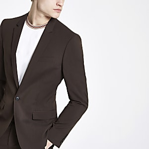 Braune Skinny Fit Anzugsjacke