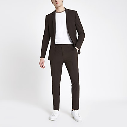 Brown skinny fit suit trousers