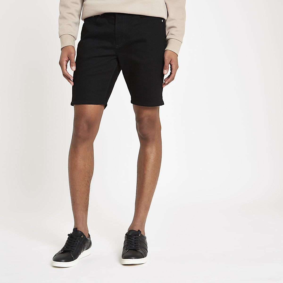 Black slim fit denim shorts