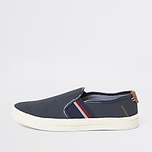 Blue elastic tape slip on plimsolls