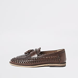 8c7c4648976 Dark brown leather woven tassel loafers