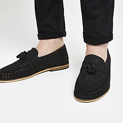 Black leather woven tassel front loafers