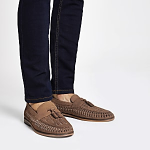 Brown leather woven tassel front loafers