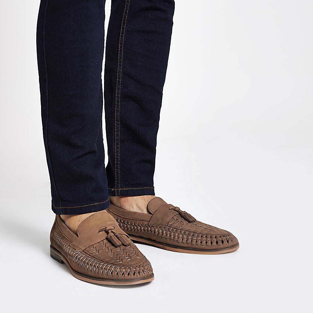 Brauner Loafer aus Leder mit Quaste