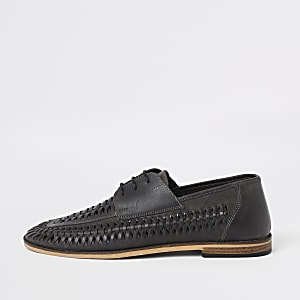 Dark grey leather woven lace-up derby shoes
