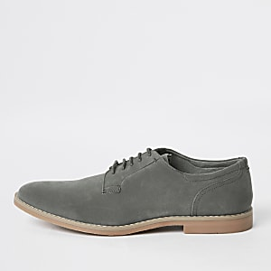 Grey tumbled lace-up derby shoes
