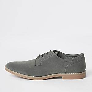 Chaussures derby à lacets grises effet vieilli