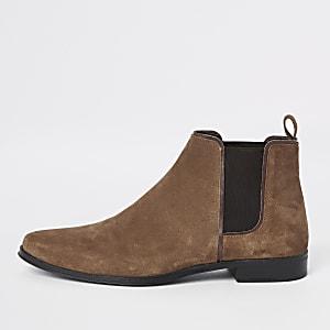 Braune Chelsea-Stiefel aus Wildleder