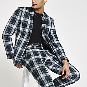 Green check super skinny fit suit jacket