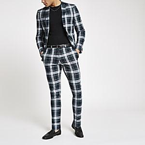 Grüne Super Skinny Fit Anzughose mit Schottenkaro