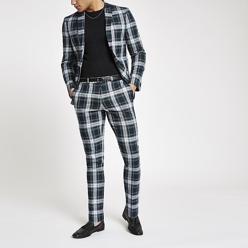 Pantalon de costume ultra skinny à carreaux écossais vert
