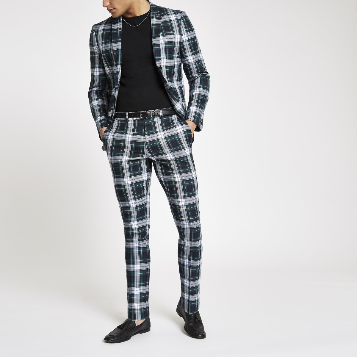 Green tartan super skinny fit suit trousers