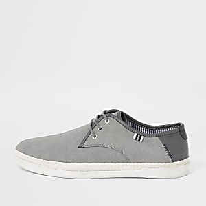 Grey espadrille trim lace-up plimsolls