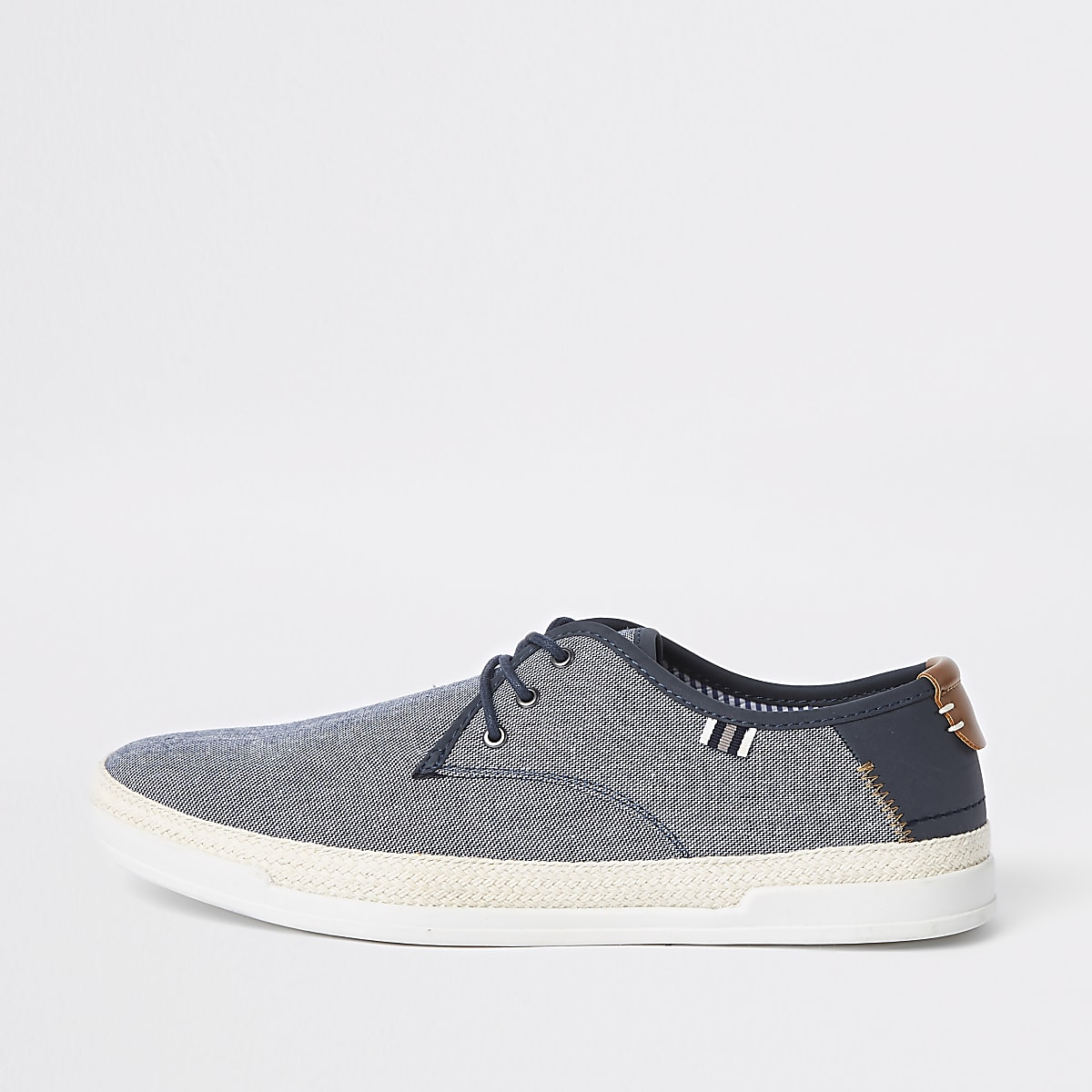 Blue espadrille lace-up plimsolls