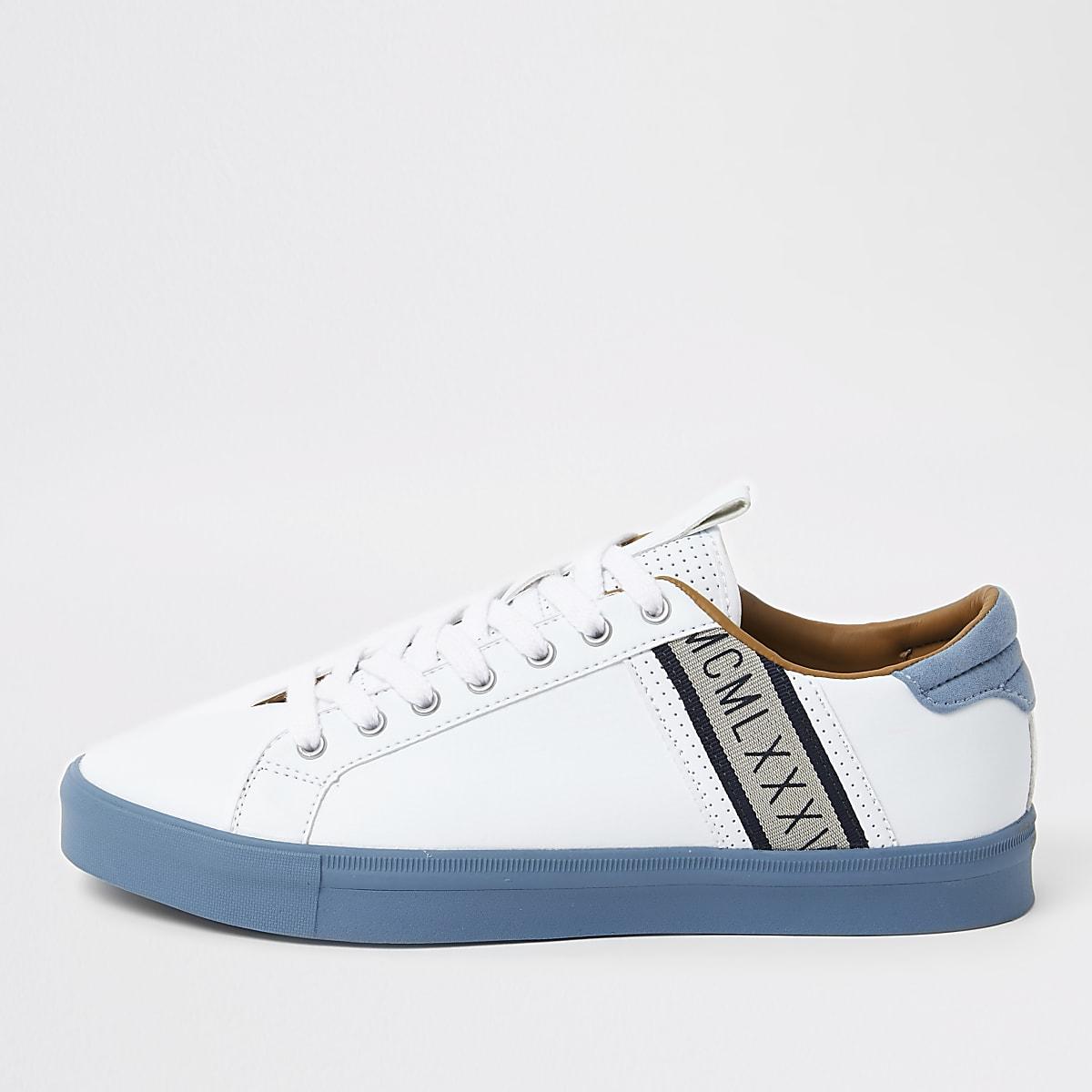 White seattle blue stripe sneakers