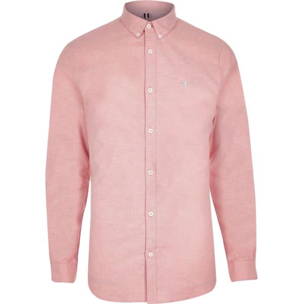 River Island - chemise en oxford ajustée rose - 5